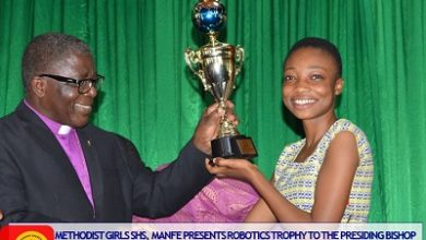 Photo of Triumphant MEGHIS presents Robofest trophy to Methodist Church leadership