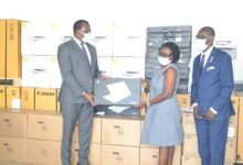Photo of Office of  Senior Minister presents office equipment and stationery to CHRAJ