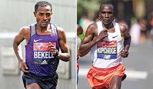 Photo of Kipchoge, Bekele set
